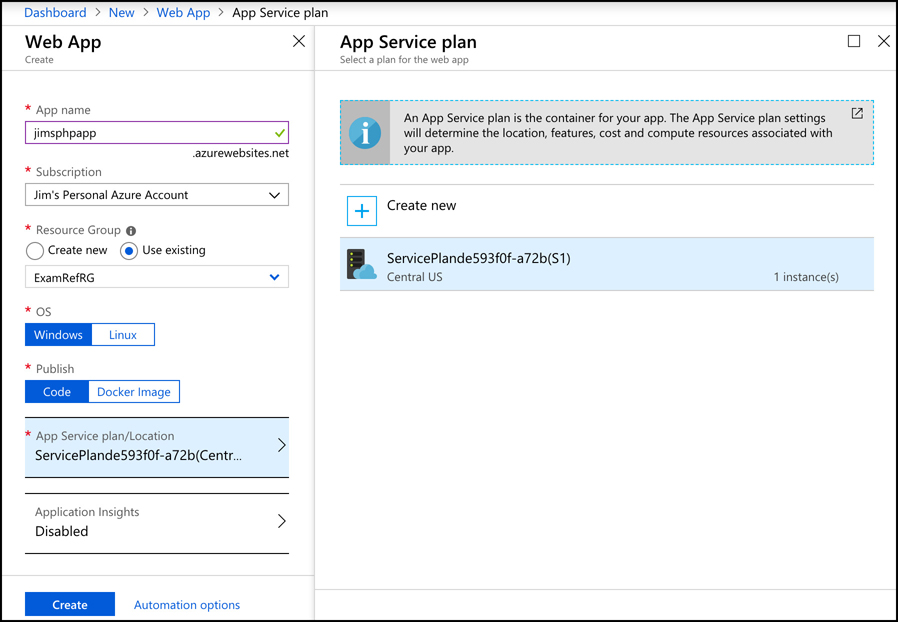This screen shot shows how to create an application in Azure App Service, one of the PaaS offerings in Azure.