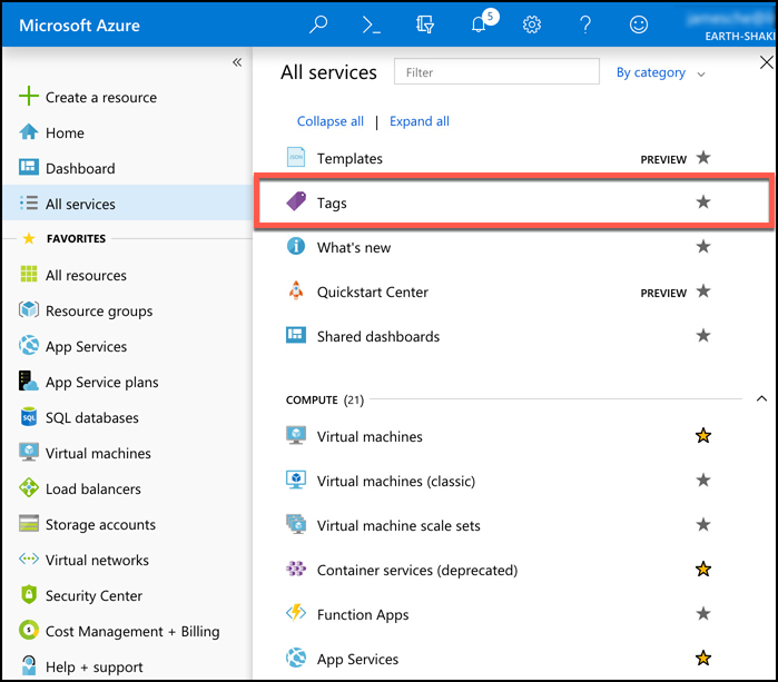 A screen shot showing the Tags option in the Azure portal. Select All Services in the portal menu, and then click on Tags to view all tags applied to your Azure resources.
