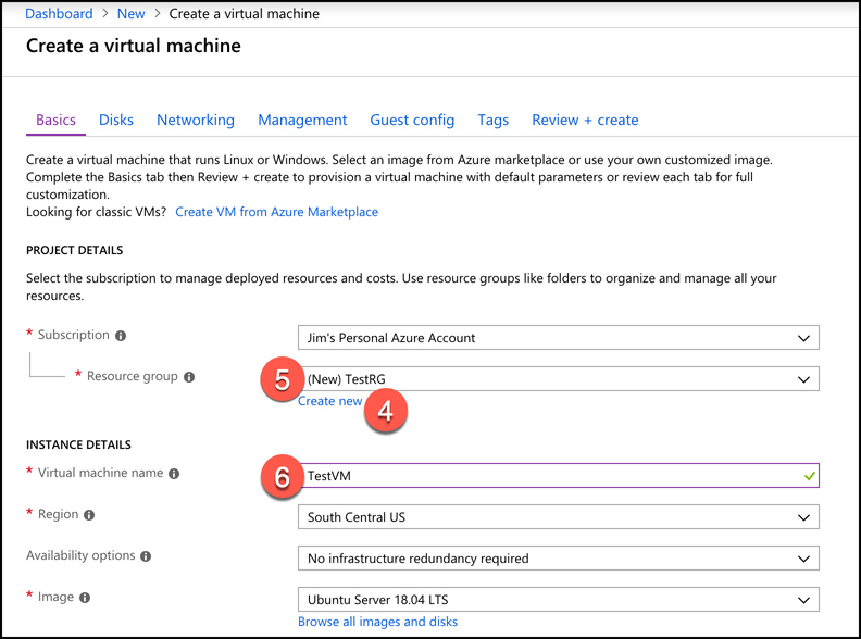 A screen shot showing the Basics screen during VM creation in the Azure portal. Create a new resource group called TestRG for your VM by clicking Create New. Then name your VM TestVM.