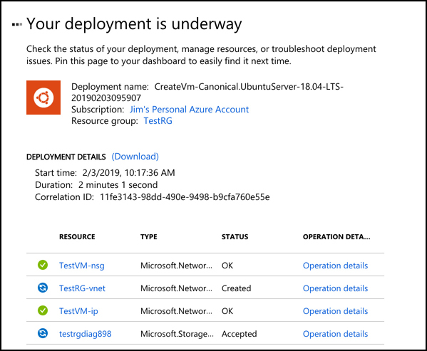A screen shot showing deployment status of a VM in the Azure portal. As your VM is being deployed, you'll see the status of all the Azure resources used by your VM. Only when all resources have been created can Azure consider the VM to be fully deployed.