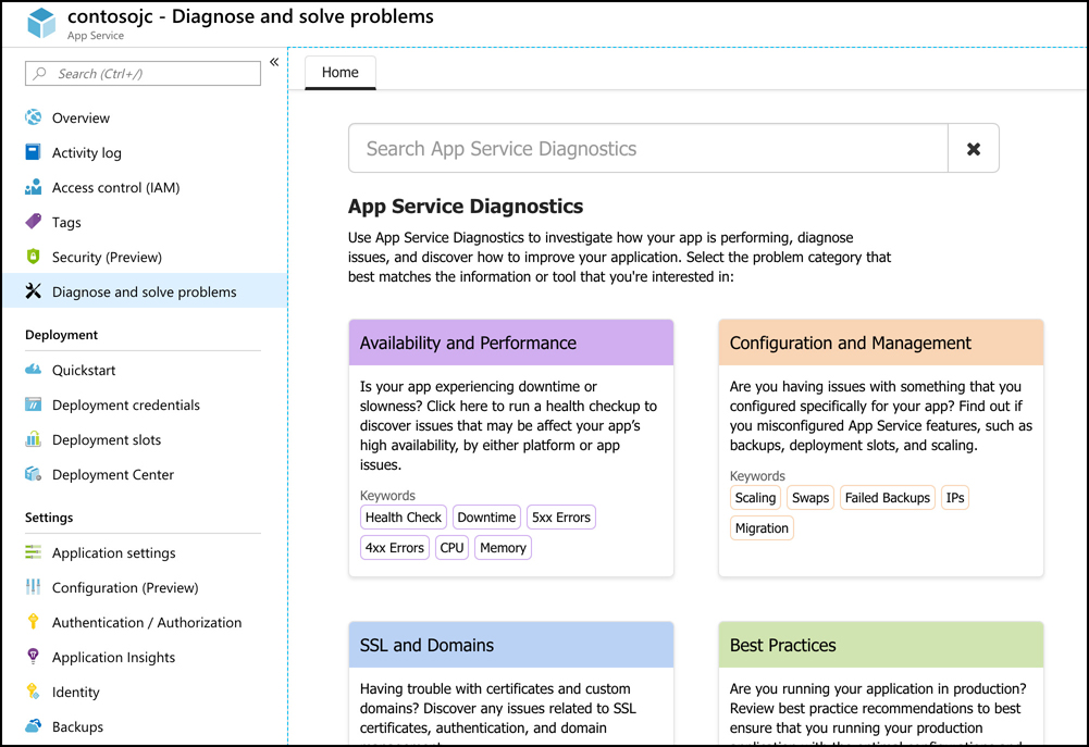 In this screen shot, App Service Diagnostics is shown in the Azure portal. Each time you click a menu item, the content in the blade on the right is updated with new content.
