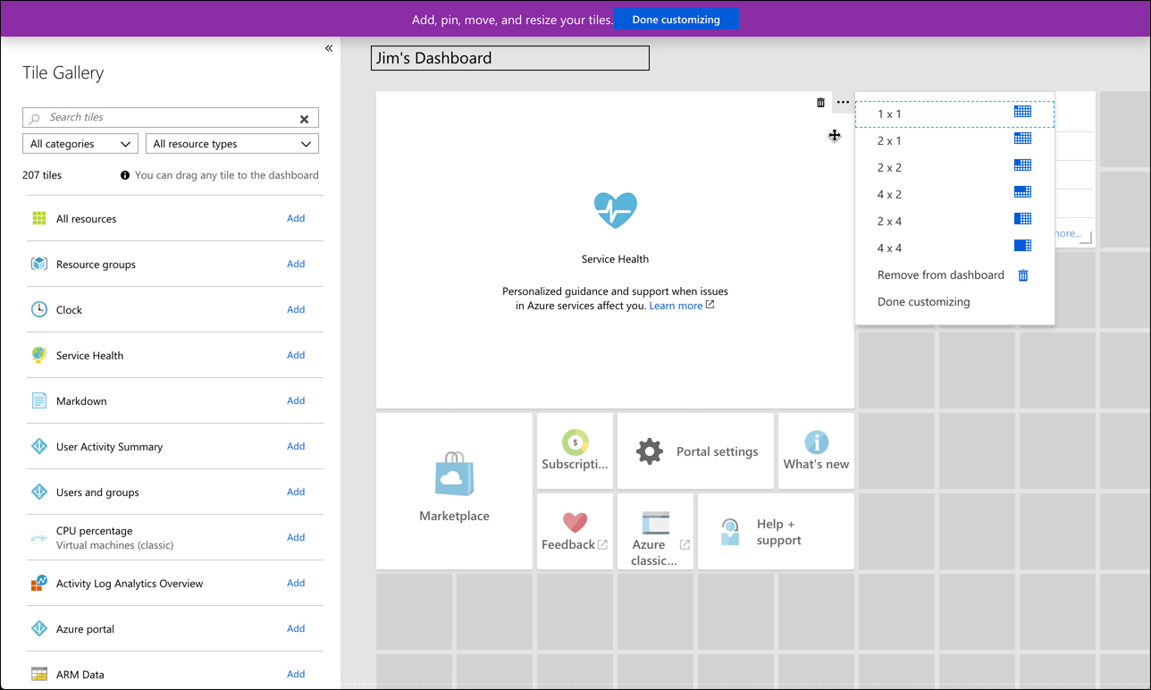 In this screen shot, a new dashboard is being edited. You can customize a dashboard by adding tiles, removing tiles, and resizing tiles. You can also rename your dashboard.