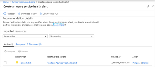 In this screen shot, an Azure Advisor recommendation is shown for a subscription. When reviewing a recommendation, you can choose to dismiss it or postpone it for later.