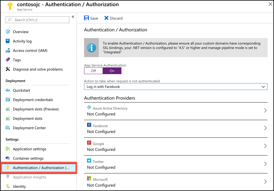 A screen shot showing the Authentication / Authorization feature in Web App for Containers. This feature makes it easy to configure complex scenarios such as single sign-on through turnkey features that are included in Azure App Service.