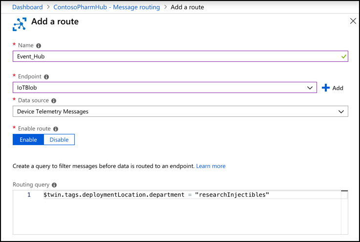 In this screen shot you can configure routes to send messages from your devices to other services. Here, we are routing messages to blob storage, and using a routing query to route only messages from a device with a particular tag.