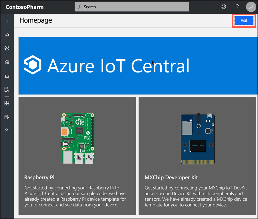 Every page can be edited in IoT Central by clicking on the Edit button.