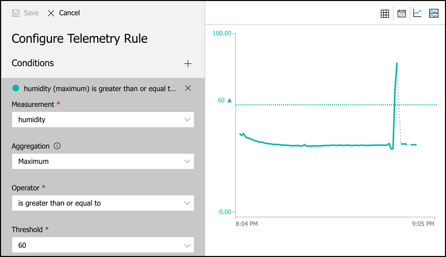 You can create rules for events or telemetry on your device. In this screen shot, we are creating a rule that will trigger when the humidity rises to 60 or above.