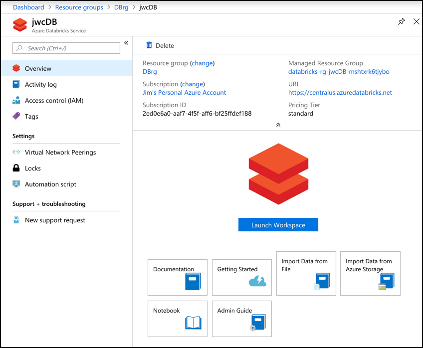 This screen shot shows Azure Databricks in the Azure portal. In order to interact with this instance, you need to launch the Databricks web-based portal, and you do that by clicking on Launch Workspace.