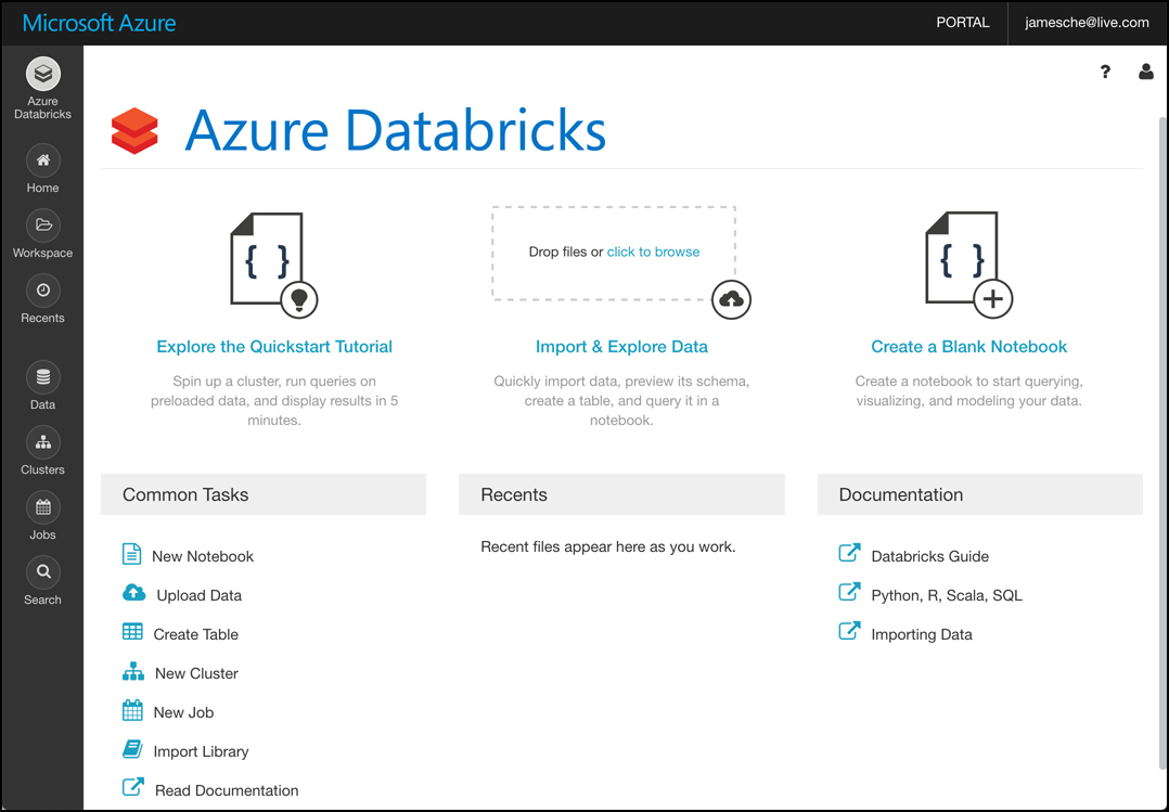 In this screen shot, the Azure Databricks portal is shown. From here, you can access all of your Databricks entities such as workspaces, tables, jobs, and notebooks.