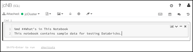 """Notebooks can contain documentation written in markdown. In this figure, we've added some markdown that explains what's in the notebook. We've used the """"%md"""" command to let Databricks know that this is markdown and not the primary language of the notebook, SQL."""