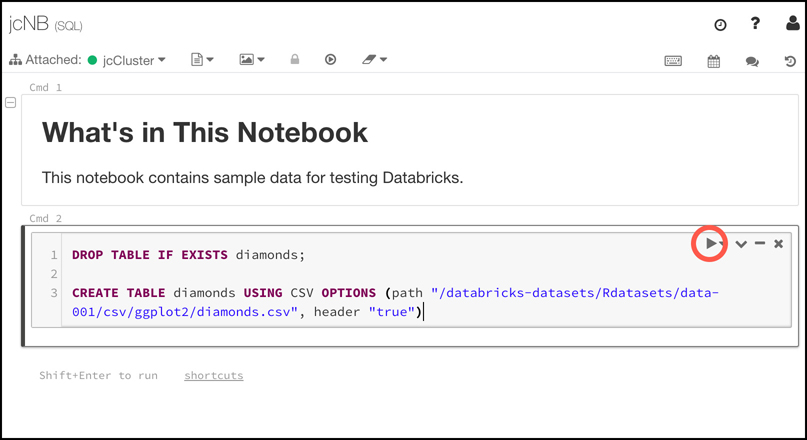 You can add code and execute it directly in a Databricks notebook cell. In Here we are running a command that populates a new table with data.