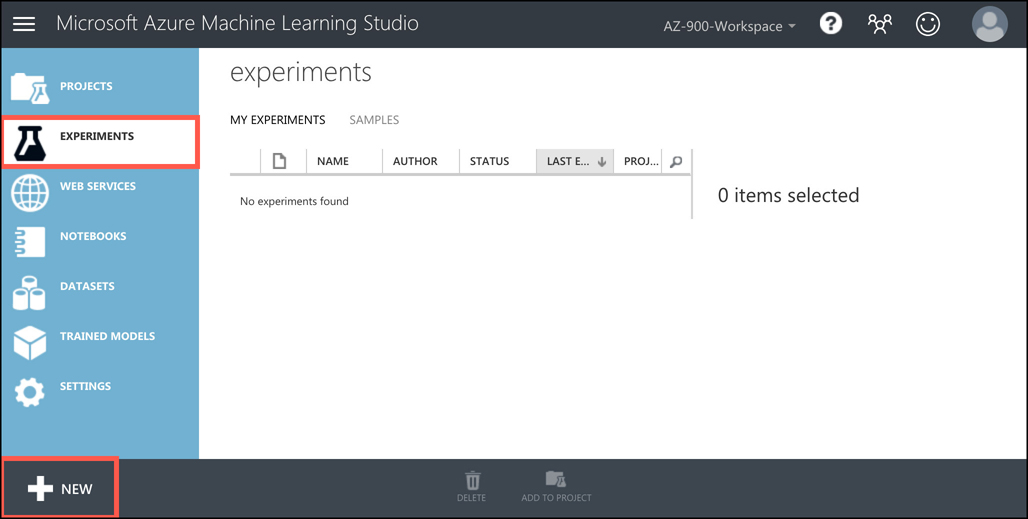To build, train, and test the ML model, we create an experiment in Machine Learning Studio.