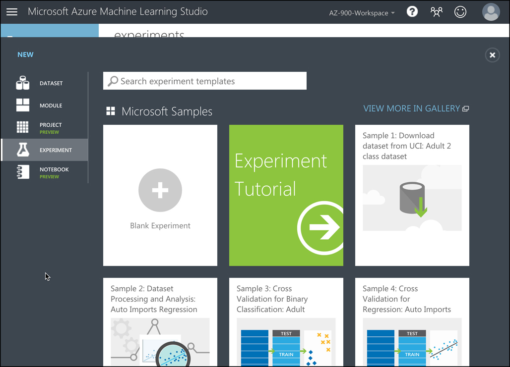 We'll start our experiment with the Blank Experiment template, but you can choose other experiments later to learn more about how Machine Learning Studio works.