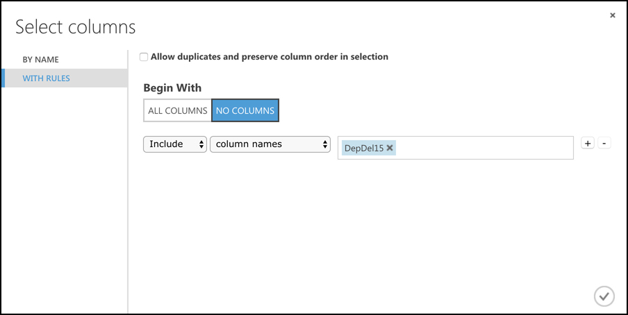 The Select Columns screen makes it easy to tell Clean Missing Data which columns contain missing values.