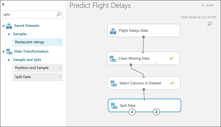 In this screen shot, we've connected to a Split Data item. The Split Data item makes it easy to send only a portion of your data to your ML model for training.