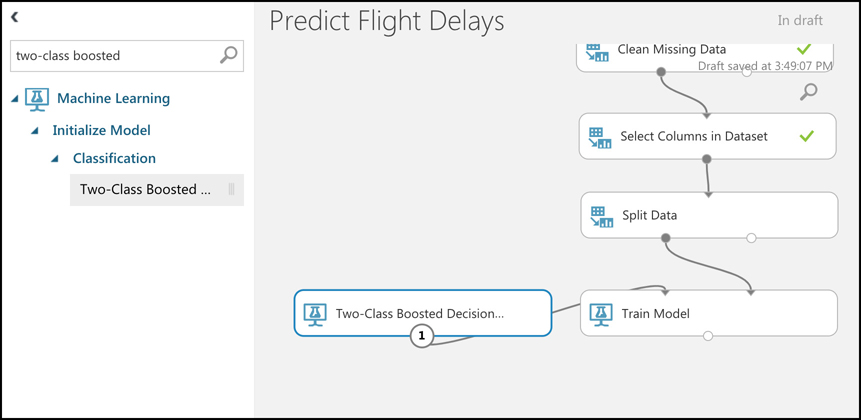 Machine Learning Studio provides many ML algorithms you can use to train your model. In this case, the Two-Class Boosted Decision Tree is a suitable algorithm.
