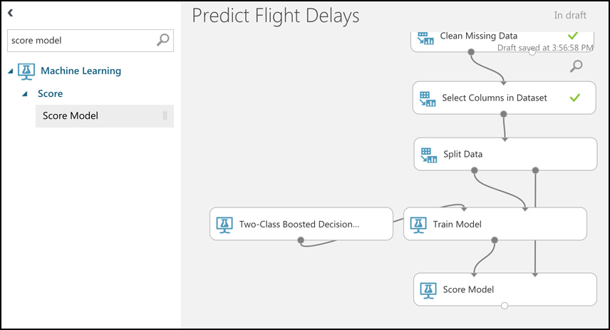 The Score Model item in Machine Learning Studio makes it easy to see how well your trained model performs with a portion of your data.