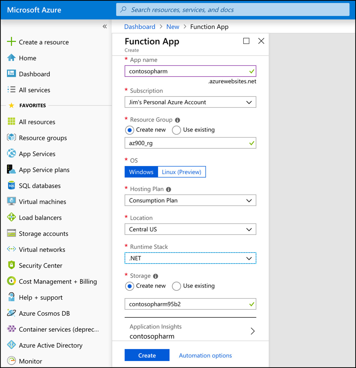 The Azure portal is just one of many ways you can create a Function App. In this figure, we're using .NET as the runtime stack to create functions using C#.