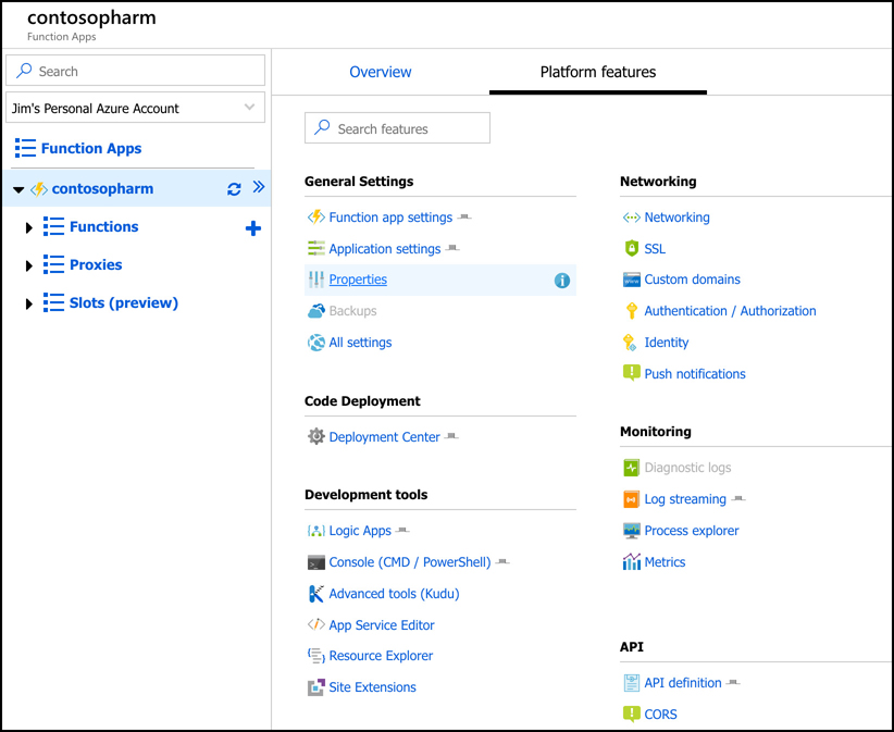 This screen shot shows a Function App in the Azure portal. Because Function Apps run on Azure App Service, you get a large number of platform features that you can configure, including SSL, custom domains, and turn-key authentication.