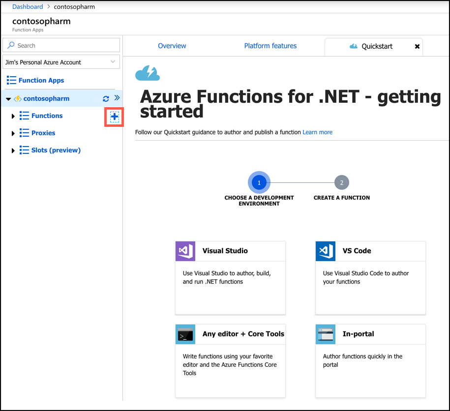 This screen shot shows the Function App Quickstart page in the Azure portal. From here, you can create a function in several different development environments.