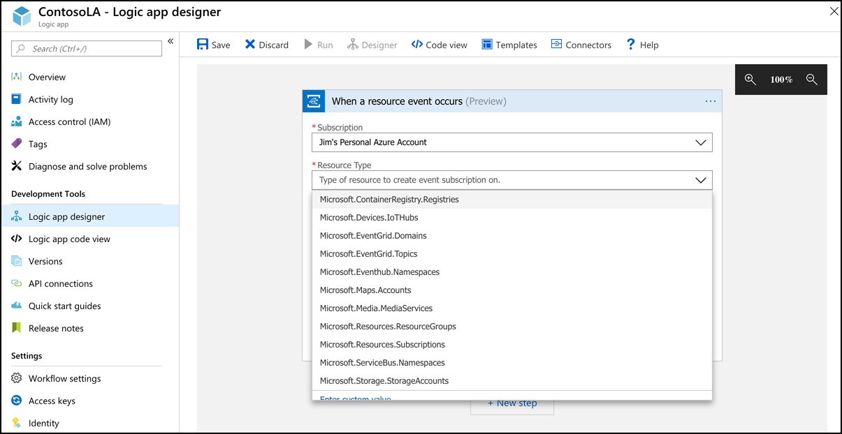 Many Azure resources are available in Event Grid, and more Azure services are being added. In this screen shot, I'm configuring an Event Grid trigger in a Logic App.