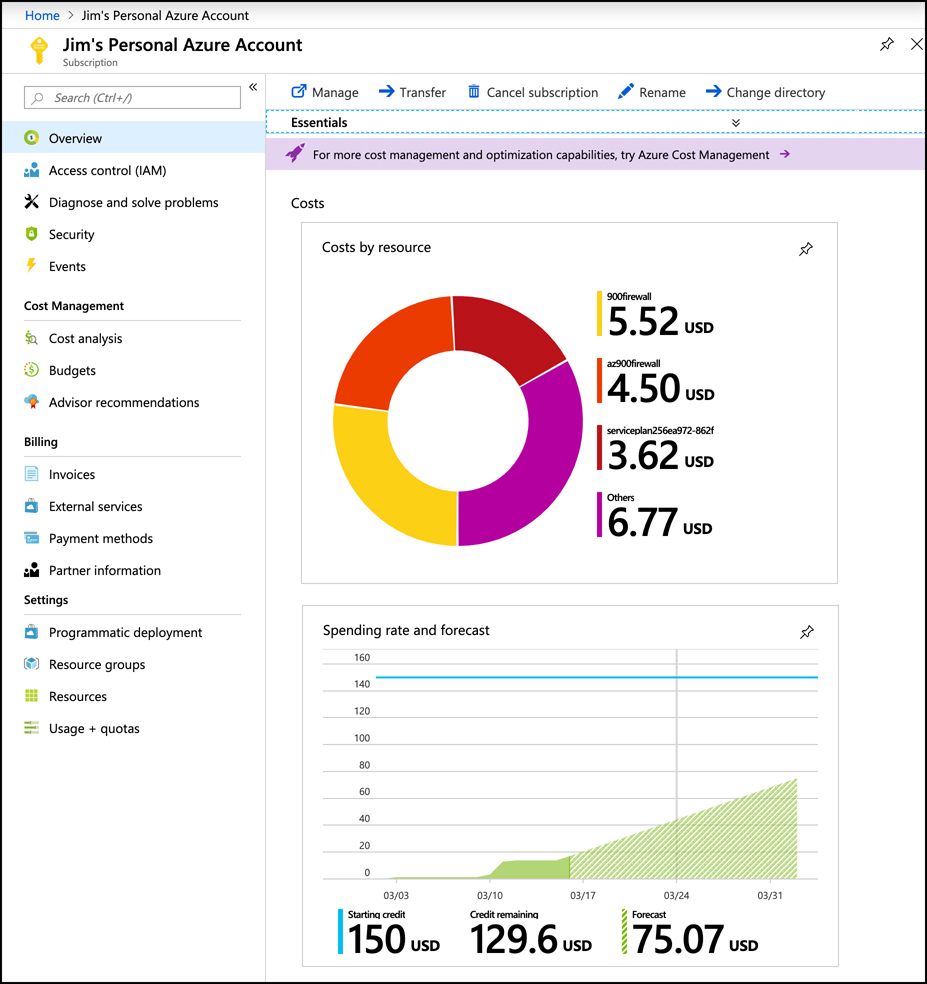 In this screen shot, a subscription is shown in the Azure portal. The Overview blade shows costs by resource and spending rate for this subscription.