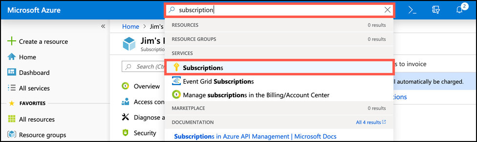 In this screen shot, we are searching for Azure subscriptions to  view  subscriptions in the portal. This is how you can create new subscriptions in your Azure account.