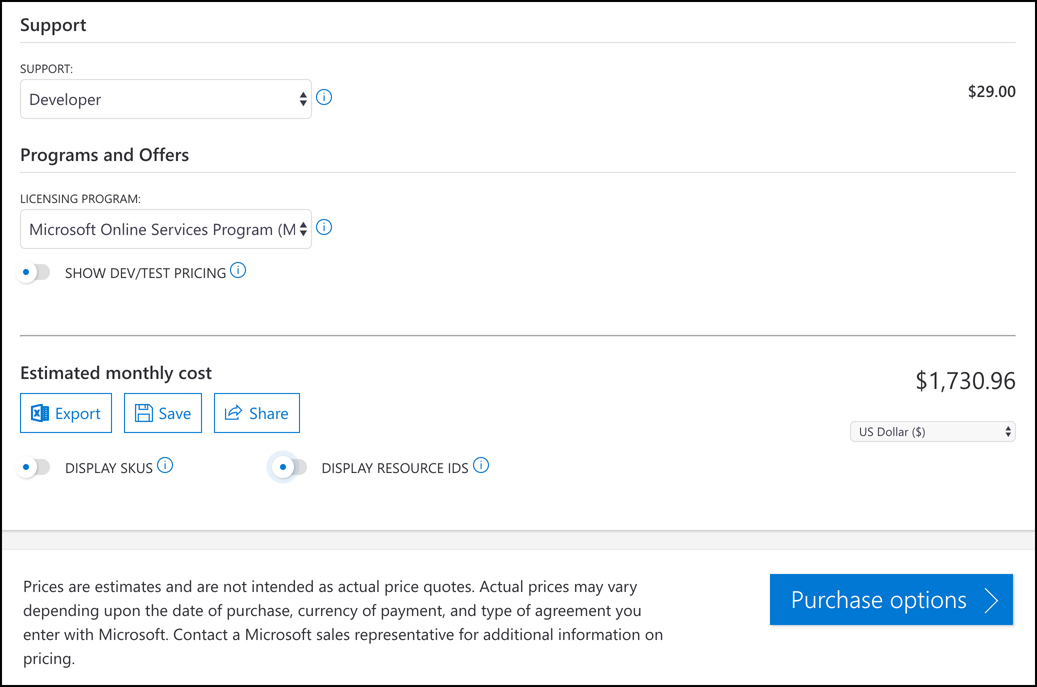 In this screen shot, an estimate is being completed in the pricing calculator. You can choose a support option and your licensing program, and then export, save, or share your estimate.