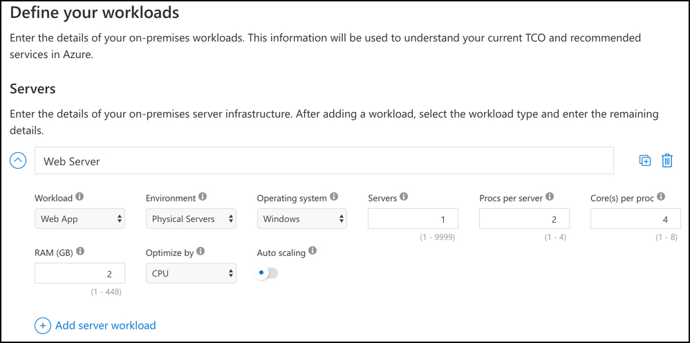 In this screen shot, an on-premises server is configured in the TCO calculator. This is the first step in finding out how much money you can save by migrating this workload to Azure.