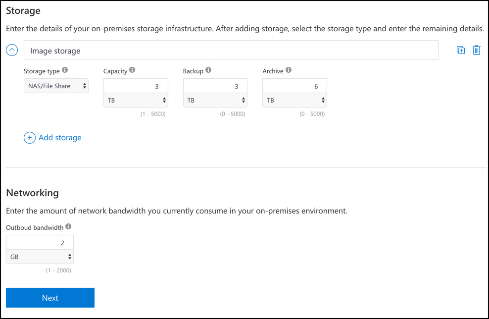 In this screen shot, an on-premises NAS device has been added and network bandwidth has been entered.