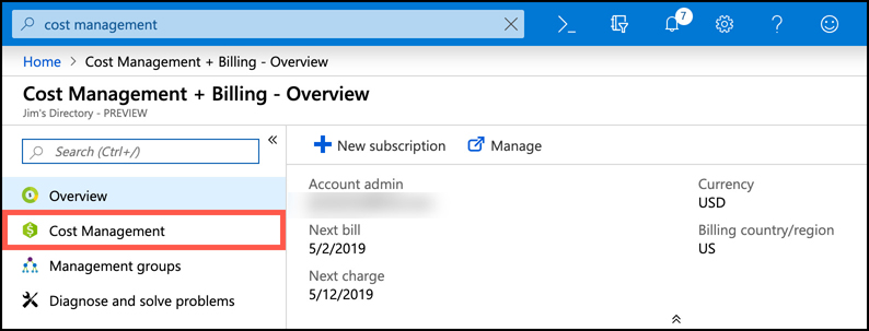 In this screen shot, Cost Management + Billing is shown in the Azure portal. To access Cost Management, click on the Cost Management option in the menu.
