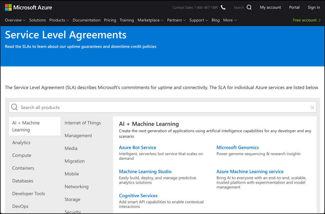 In this screen shot, the Azure SLA web page is shown. From here, you can select any Azure service to read details on the SLA offered by that service.