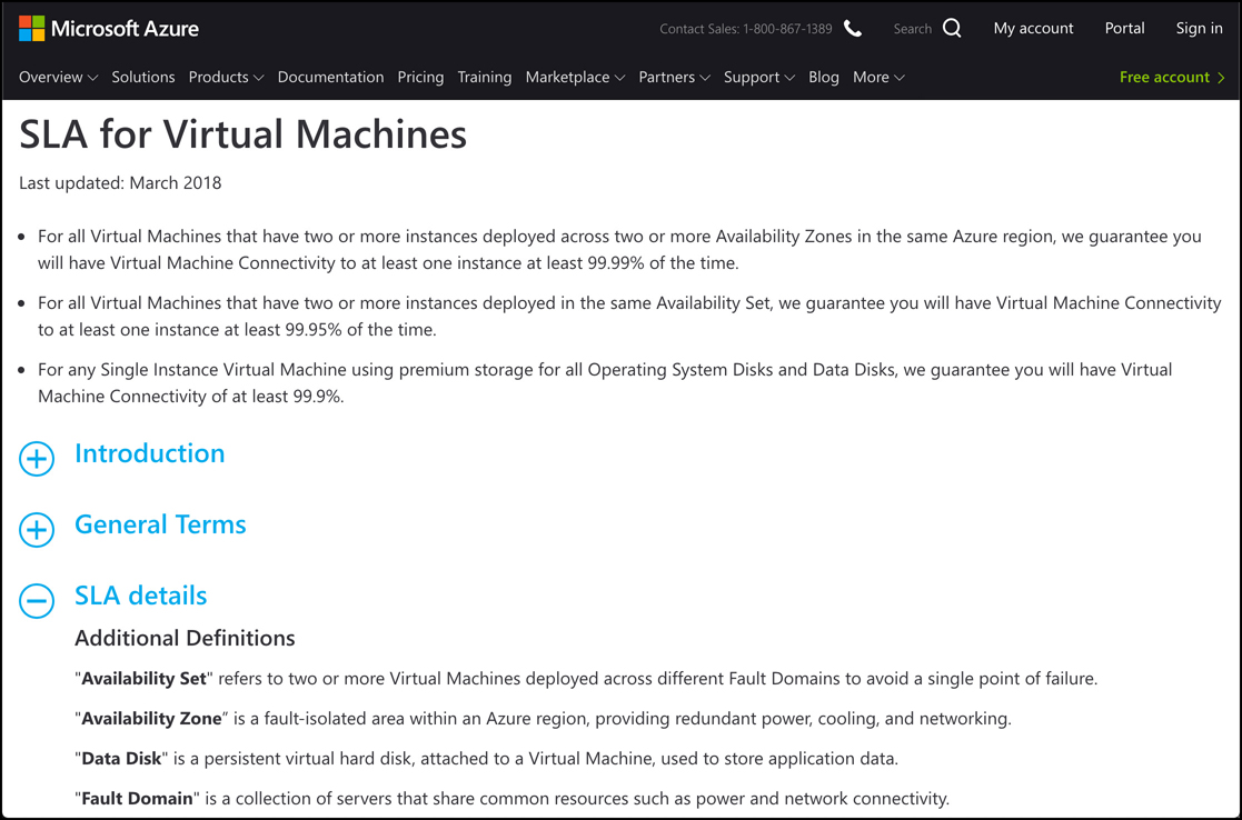 In this screen shot, the SLA page for Azure VMs is shown. This page shows all the details on the SLA for the Azure service.