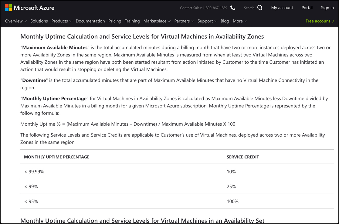 In this screen shot, details on the SLA for Azure VMs is shown. Information on how to calculate downtime is shown, in addition to the service credit you may receive if an SLA isn't met.
