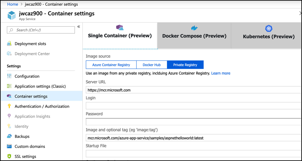In this screen shot, a preview feature is shown in Azure App Service. Each tab in the Docker container configuration displays the preview badge indicating it's in preview.