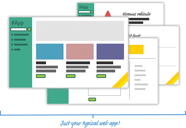 An illustration shows a set of windows that represent a typical web app. The left pane of the app shows a search bar and a set of navigation links. The right pane shows several thumbnails and related content.