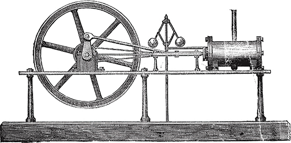 The illustration shows an old steam engine with a wooden base at the bottom, a wheel on the left, and a motor on the right.