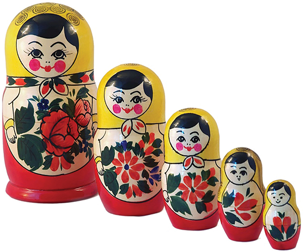 Photograph shows a set of five Russian matryoshka dolls arranged from left to right in decreasing order of their heights.