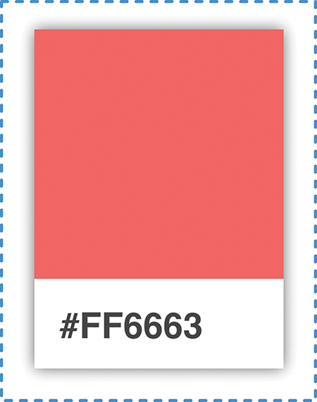 The pink colored palette card with the hex code #FF6663 (displayed in a white box) at the bottom is shown.
