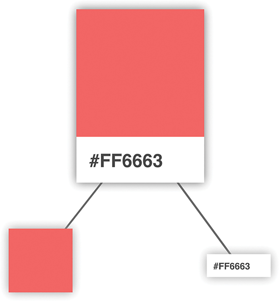 A figure shows the pink colored palette card at the top having two branches. One of the branches is a pink colored box and the other branch shows the hex code.