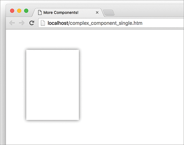 """A screenshot of a web browser shows the result of the """"complex_component_single.htm"""" page displaying the outline of the palette card that has a plain, white content."""