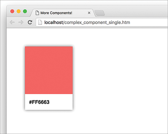 """The palette card appears on the screen, with the pink colored portion at the top and the white region below it. The hex code label """"#FF6663"""" appears in the white space."""