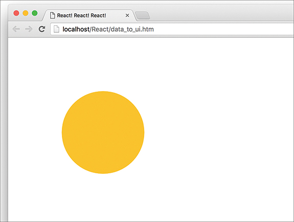 """The output of the """"data_to_ui.htm"""" page on the web browser displays a yellow circle."""