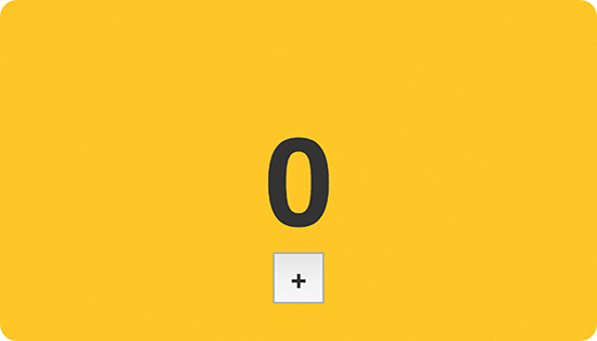 The number 0 is displayed on the screen with a plus button present below the number.