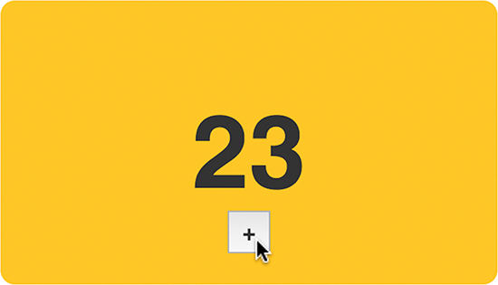 The plus button is shown clicked (indicated by the mouse pointer hovered over the button). The number 23 is displayed on the screen.