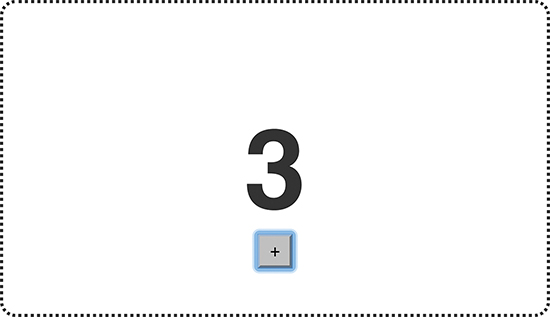 A counter displays the number 3 on the screen. A plus button below the number is highlighted.