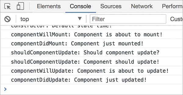 Four other lifecycle methods are called in the console view.