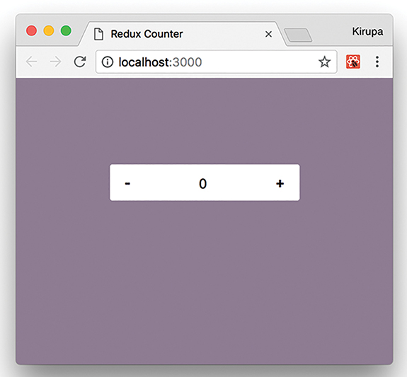 A screenshot shows the Redux Counter app. The number 0 is displayed in a box, with a minus button and a plus button present at the left and right sides of the box, respectively, to decrement/increment the current value by 1.
