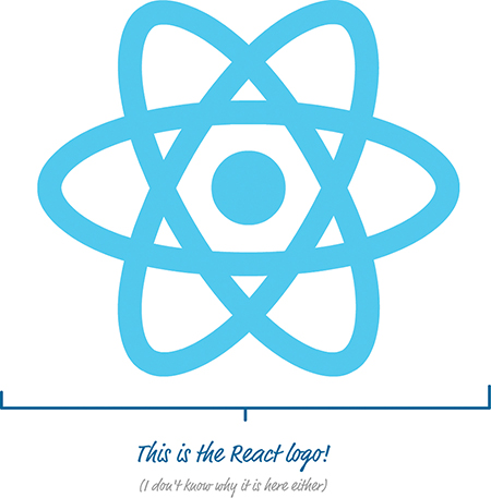 A figure shows the React logo. It is seen as a set of three ovals intersecting to form the shape of a star, with a solid circle present at the center of the shape.